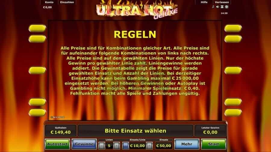 Ultra Hot Regeln und das Spiel